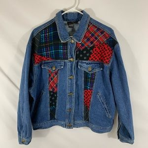 Carole little jean jacket with patchwork detail